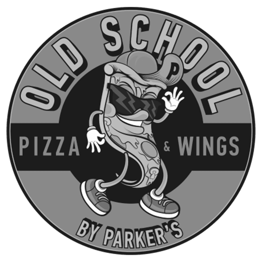 old school pizza and wings grayscale branding